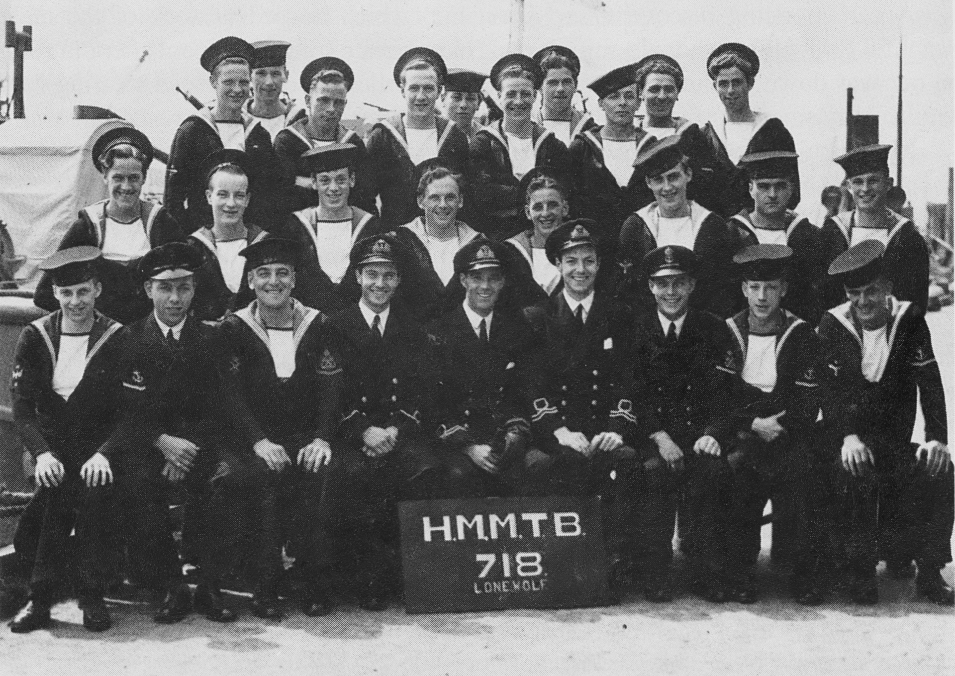The crew of MTB 718, a Fairmile 'D-Type' vessel which was involved in clandestine work as part of the 15th MGB Floilla