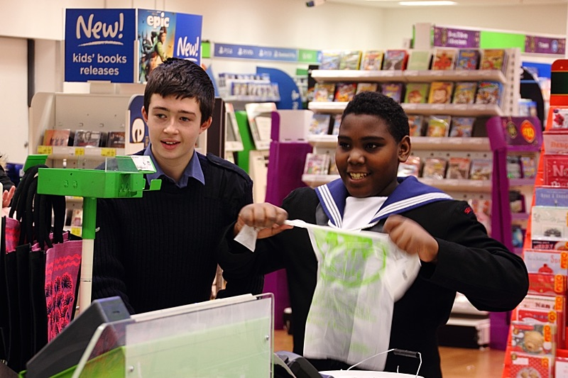 City of London Sea cadets packing shopping bags